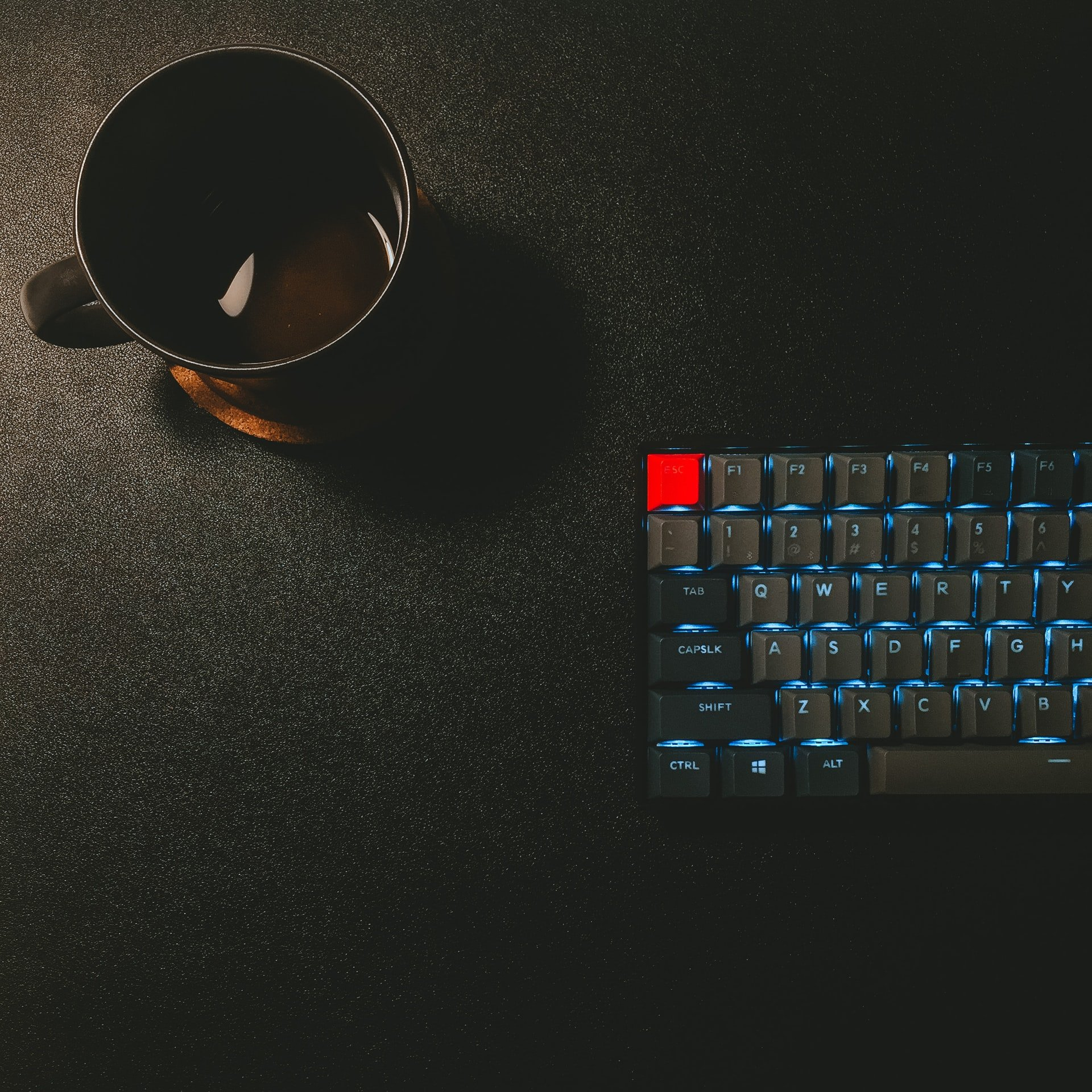 coffee cup and keyboard